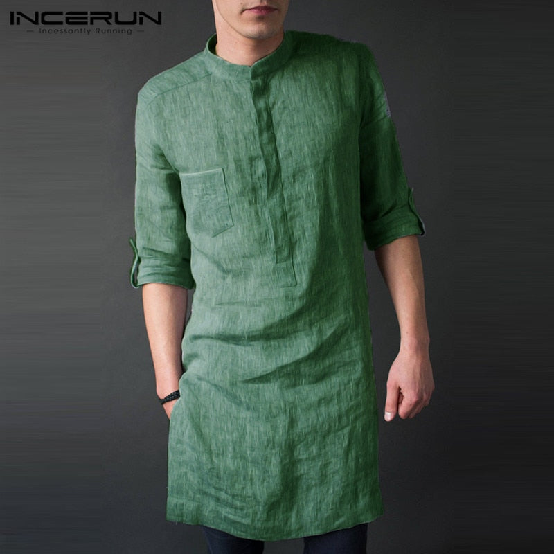 INCERUN Mens Shirt Long Sleeve Stand Collar Solid Color Casual Tops Loose Retro Longline Shirts Men Indian Kurta Suit 2019 S-5XL