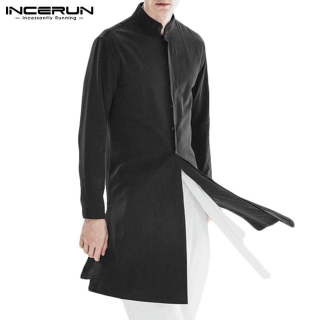 INCERUN Vintage Mens Shirt Stand Collar Cotton Long Sleeve Male Long Tops Streetwear Casual Indian Kurta Suit Shirt Hombre L-5XL