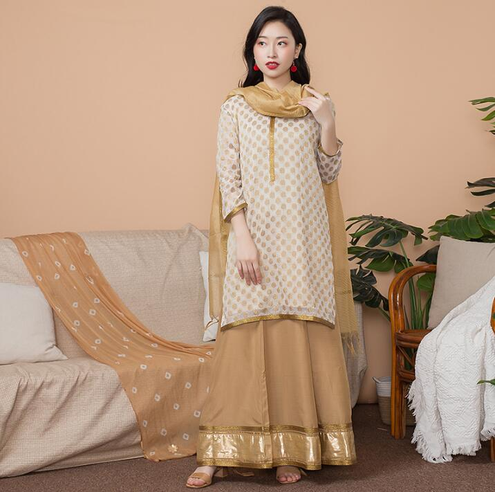 India Fashion Woman Ethnic Styles Set  Cotton India Dress Thin Travel Costume Elegent Lady Long Top+Skirt+Scarf