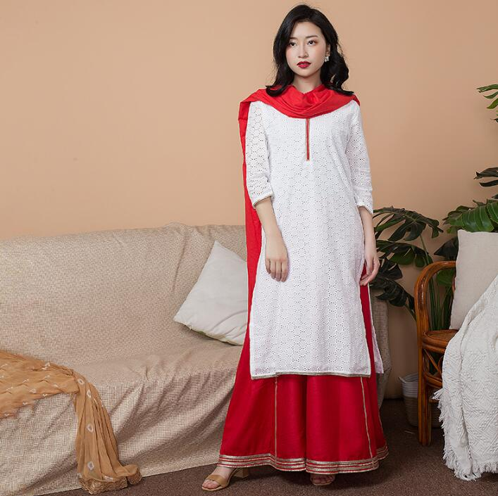 India Fashion Woman Ethnic Styles Set  Cotton India Dress Thin Travel Costume Elegent Lady White Red Top+Skirt+Scarf