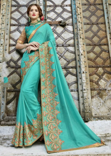 India Sarees Bollywood Ethnic Traditional Costume Georgette Sari Embroidery Saree Blouse Indian Dress Women Clothing Suties