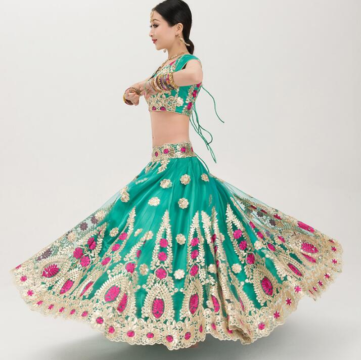 India Sarees Woman Girl Beautiful Embroidery Gorgeous Dance Shoot Costume India Style Anna Sets Top+Skirt+Scarf