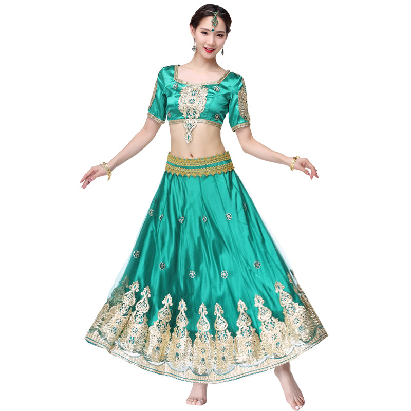 Indian Outfits Bollywood Traditional Dress Costumes 3pcs Set Top+Belt+Skirt Women Belly dance Arabic Themed Full Dance Costumes