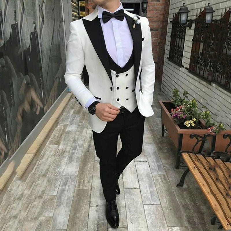 Ivory Men Suits 2019 Beach Wedding Groom Wear Tuxedos 3 Pieces(Jacket+Pants+Vest) Slim Fit Bridegroom Suits Costume Homme