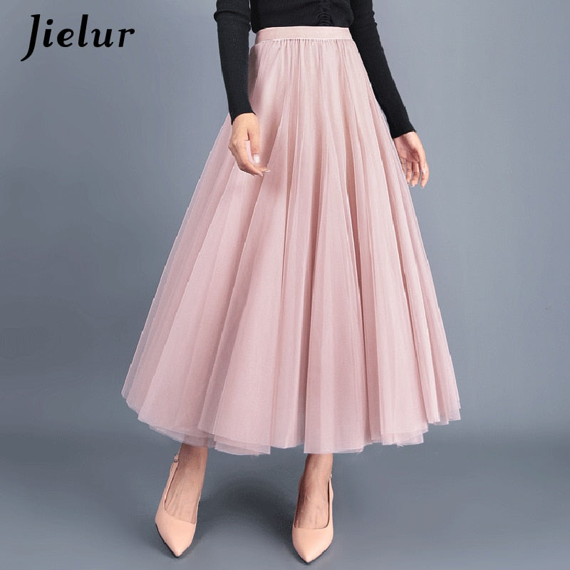 Jielur Autumn 3 Layers Princess Tulle Skirts Vintage Solid Color Mesh Women Skirt Pleated A-line Saia Female Jupe Tutu Skirts