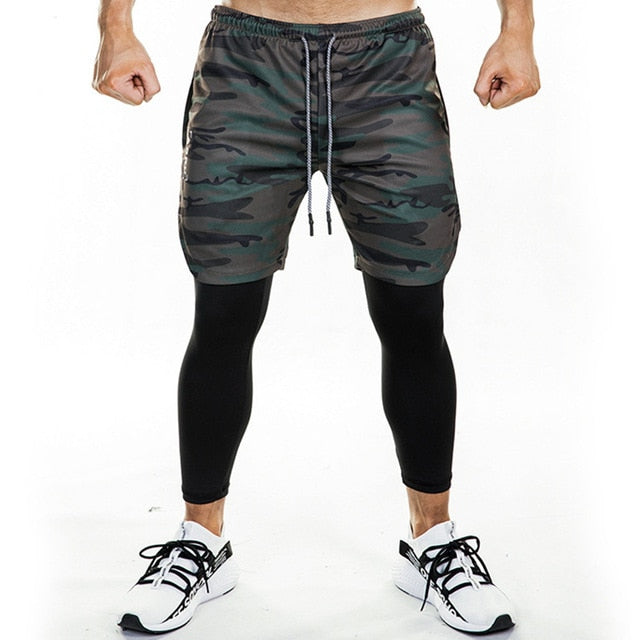 Joggers Sweatpants New Men 2 in 1 Skinny Pants Shorts/Leggings Double layer Sportswear Male Gyms Fitness Quick dry Track Pants
