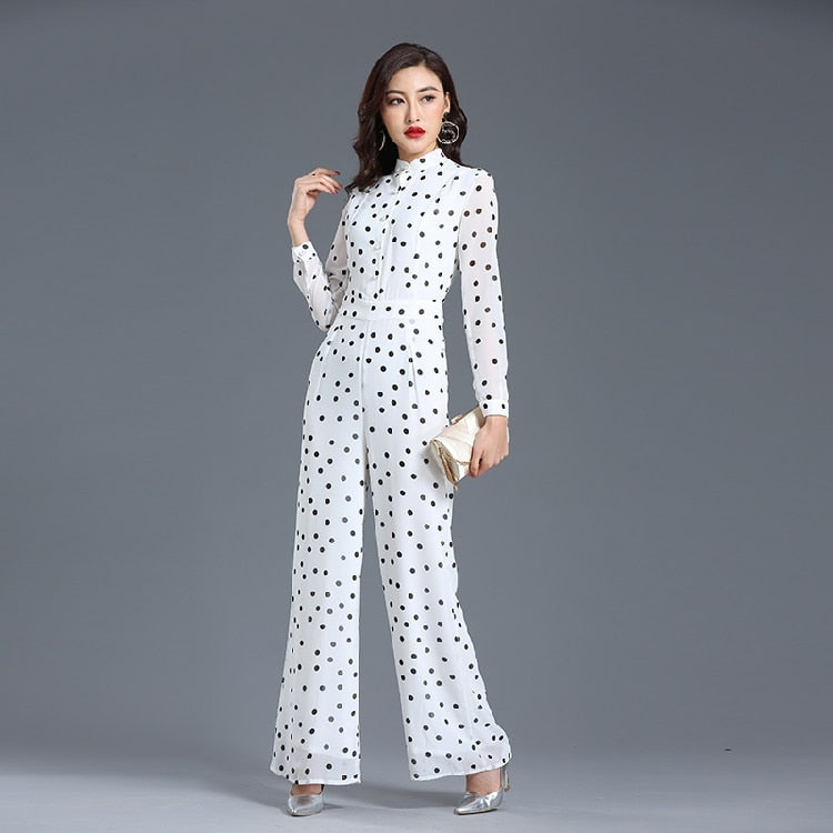 Jumpsuit for Women 2019 Autumn Party Long Sleeve Dot Chiffon High Street Elegant Full Length Wide Leg Rompers Plus Size 3XL 4XL