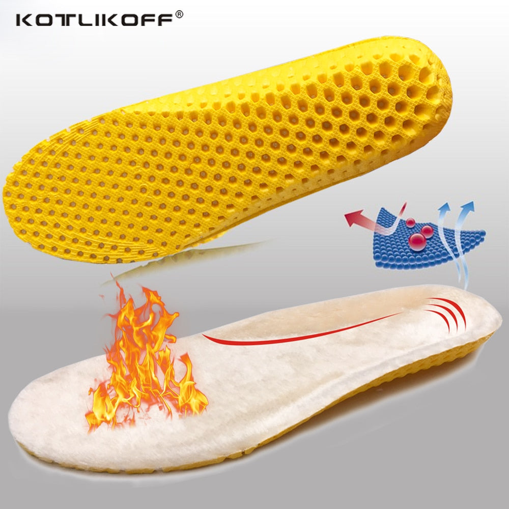 KOTLIKOFF Keep Warm Heated Cashmere Thermal Insoles Thicken Breathable Winter Sport Shoes Insert For Man Woman Boots Pad Sole