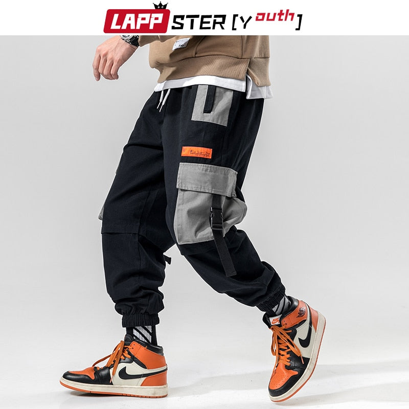 LAPPSTER patchwork Streetwear Harem Pants Men 2019 Overalls Mens Baggy harajuku Cargo Pants hip hop Trousers casual Track Pants
