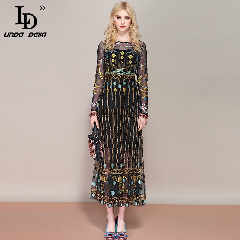 LD LINDA DELLA Spring Fashion Runway Retro ethnic A Line Dress Women's Long Sleeve Lace Mesh Embroidery Vintage Maxi Long Dress