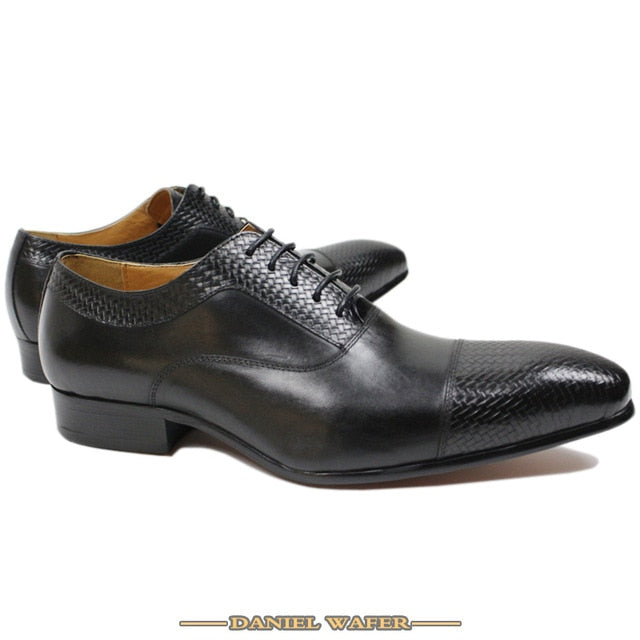 LUXURY BRAND MEN GENUINE LEATHER SHOES CAP TOE LACE UP POINTED TOE OFFICE WEDDING FORMAL DRESS BLACK SHOES OXFORD SHOES FOR MEN