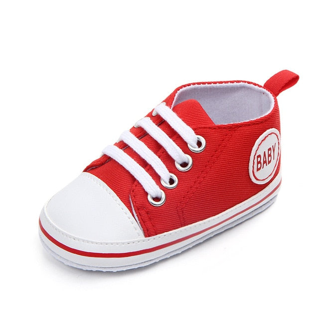 Lace-up Canvas Classic Sports Sneakers Newborn Baby Boys Girls First Walkers Shoes Infant Toddler Soft Sole Anti-slip Baby Shoes