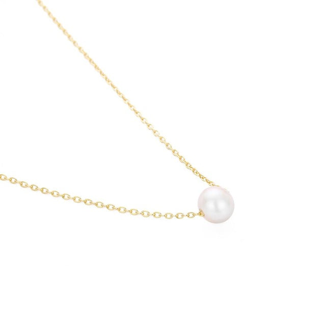 Laramoi Fashion Women Pendant Necklace Pearl Stainless Steel Gold Sliver Color Jewelry For Women Accessories Girlfriend Gift