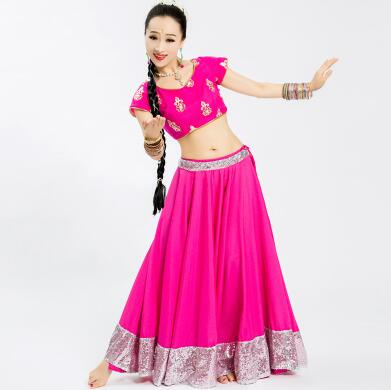 Leng Ha Performance Clothing India Sarees Woman Girl Beautiful Embroidery Dance Costume India Style Anna Sets Top+Skirt+Scarf