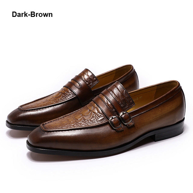 Luxury Mens Dress Shoes Crocodile Print Brown Genuine Leather Double Buckles Business Office Formal Slip On Shoes Men's Loafers
