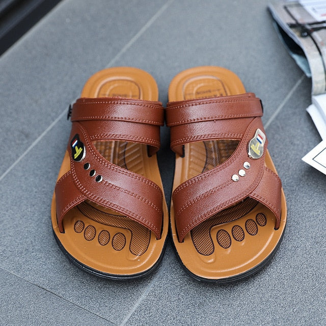 Man Sandals Men Light Shoes 2019 Summer  Black Brown Fashion Leisure Breathable Hot Sale Men Slippers