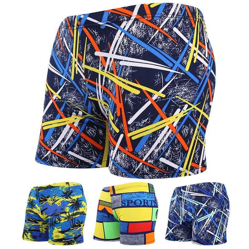 Men Multi Print Swimwear Elastic Swimming Trunks Beach Swim Short Briefs Surfing Summer Swimsuit Boxer Shorts