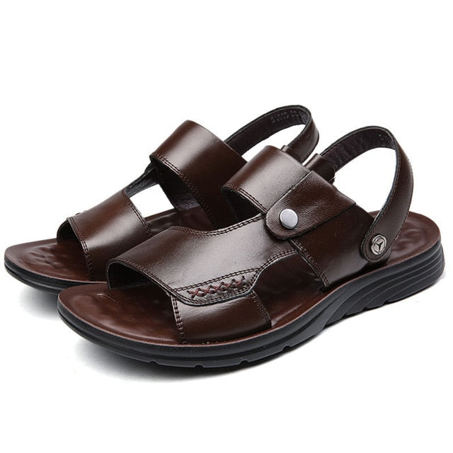 Men Sandals Split Genuine Leather Sandals Men Shoes Brand Men Casual Shoes Men Slippers Summer Beach Sandals Comfort Flip Flops