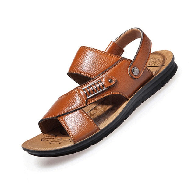 Men Sandals Summer Genuine Leather Roman Sandals Men Casual Shoes Beach Flip Flops Men Fashion Outdoor Slippers Shoes Sneakers