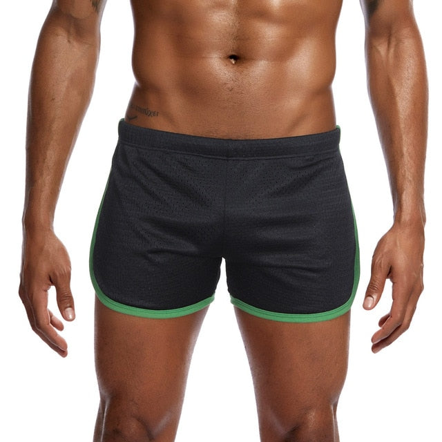 Men's New Nylon Mesh Sports Flat-Angle Track And Field Trousers Shorts Hot Sale Solid Color Compression Short For Male  c0322