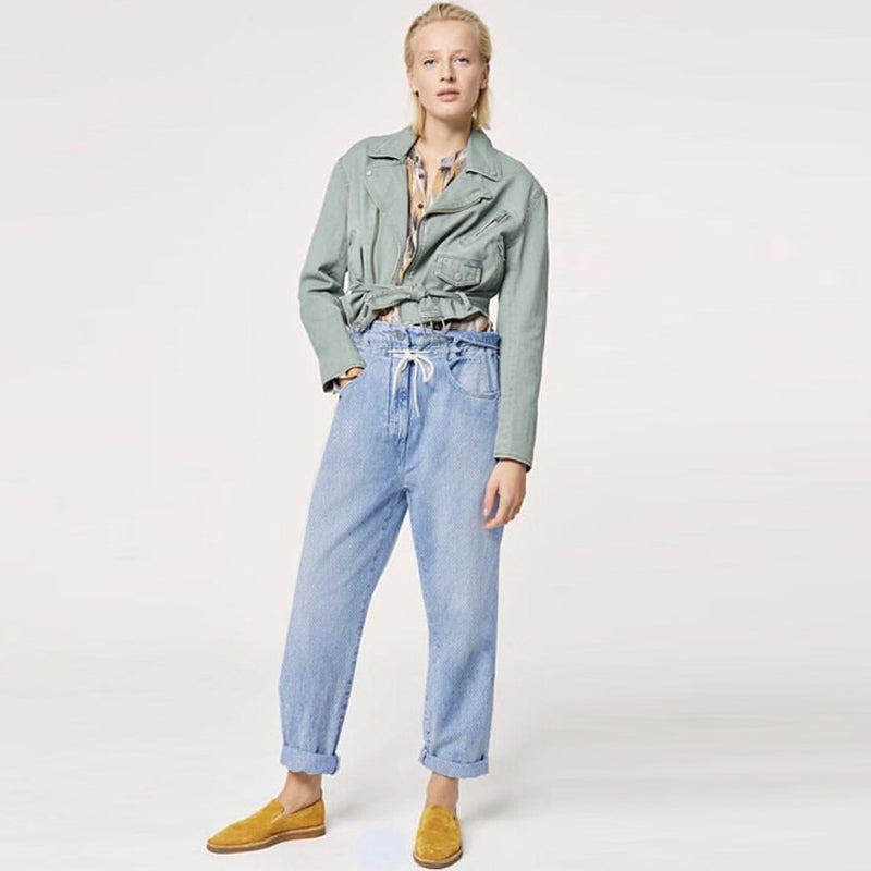 Mom Jeans Women Casual Harem Pants High Waist Trendy Boyfriend Vintage Design Leisure Denim Trousers Drawstring Streetwear Chic