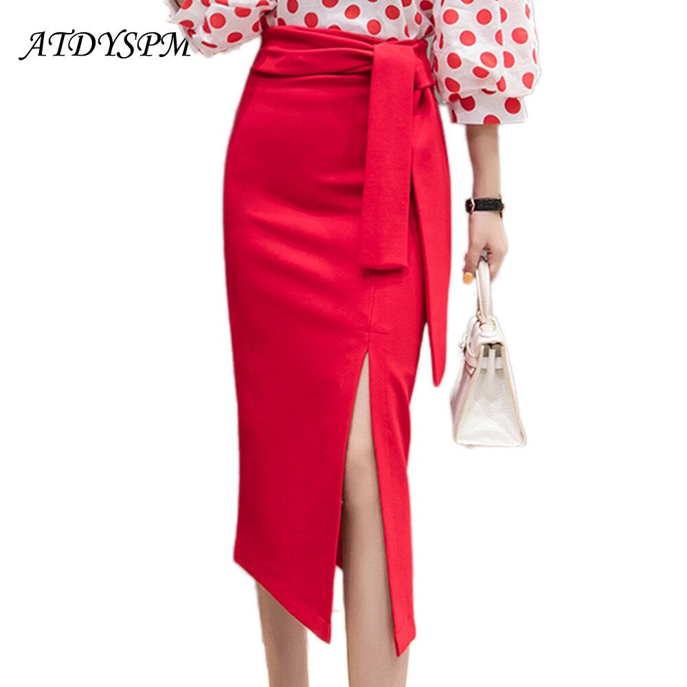 New Women's high waist  midi skirts sexy lace up split package hip skirt office lady work wear plus size OL style casual skirts