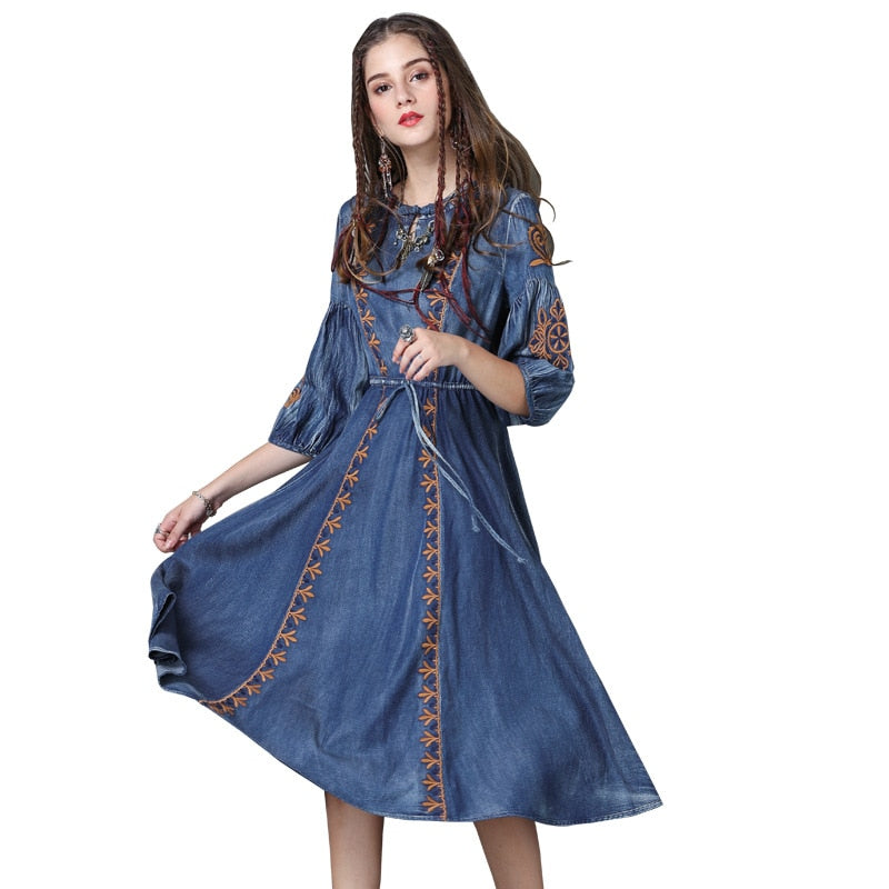 New women dress plus size vintage boho Dress delicate embroidery denim dress ethnic style drawstring dresses