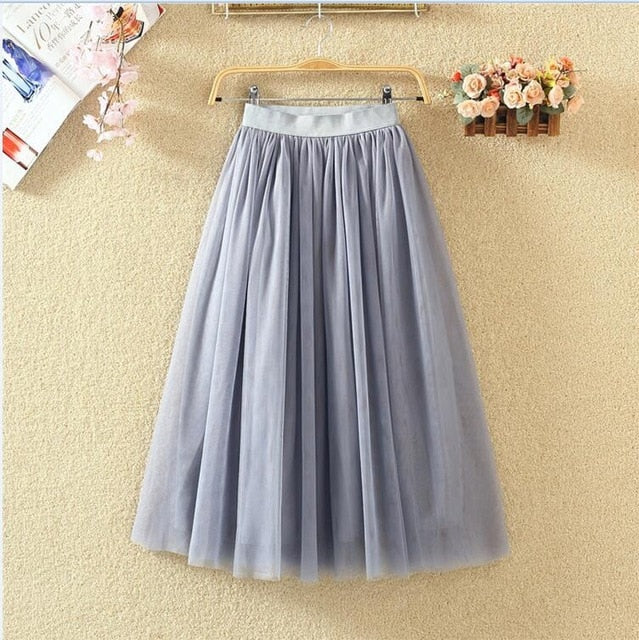 OHRYIYIE 2019 Autumn Winter Vintage Skirts Womens Elastic High Waist Tulle Mesh Skirt Long Pleated Tutu Skirt Female Jupe Longue