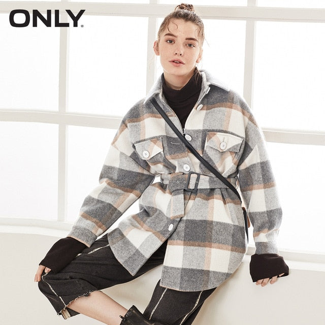 ONLY 2019 Autumn Winter Women's Checked Woolen Coat | 11936T519