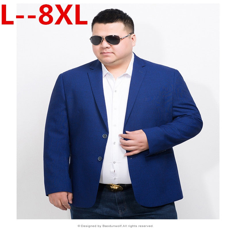PLus size 10XL 8XL 6XL 5XL Blazer Mens Casual Jacket Solid Color Cotton Men Blazer Jacket Men Classic Mens Suit Jackets Coats