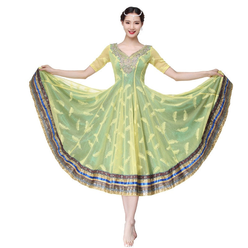 Performance Women Belly Dance Clothes Indian Costume Backless Embroidered Bollywood Dresses Satin Full Skirts 360 Degrees