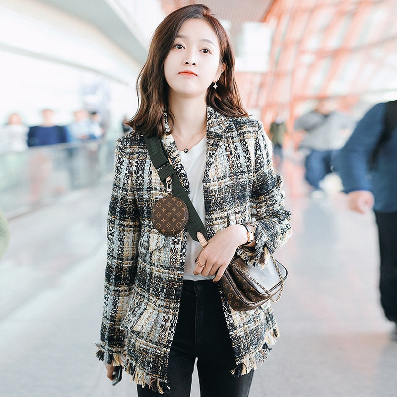 Plaid Woman Jacket 2019 Single Breasted Turn-down Collar Women Jacket Coat
