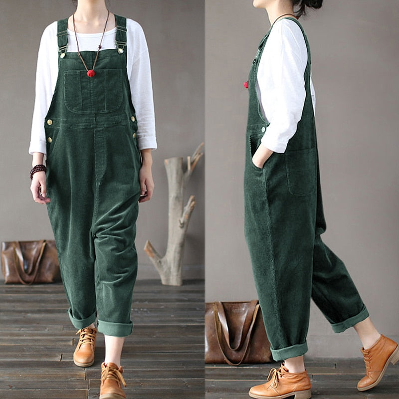 Plus Size Women Corduroy Jumpsuits Autumn Harem Pants Button Overalls Casual Long Pantalon Palazzo Female Rompers Playsuits 7