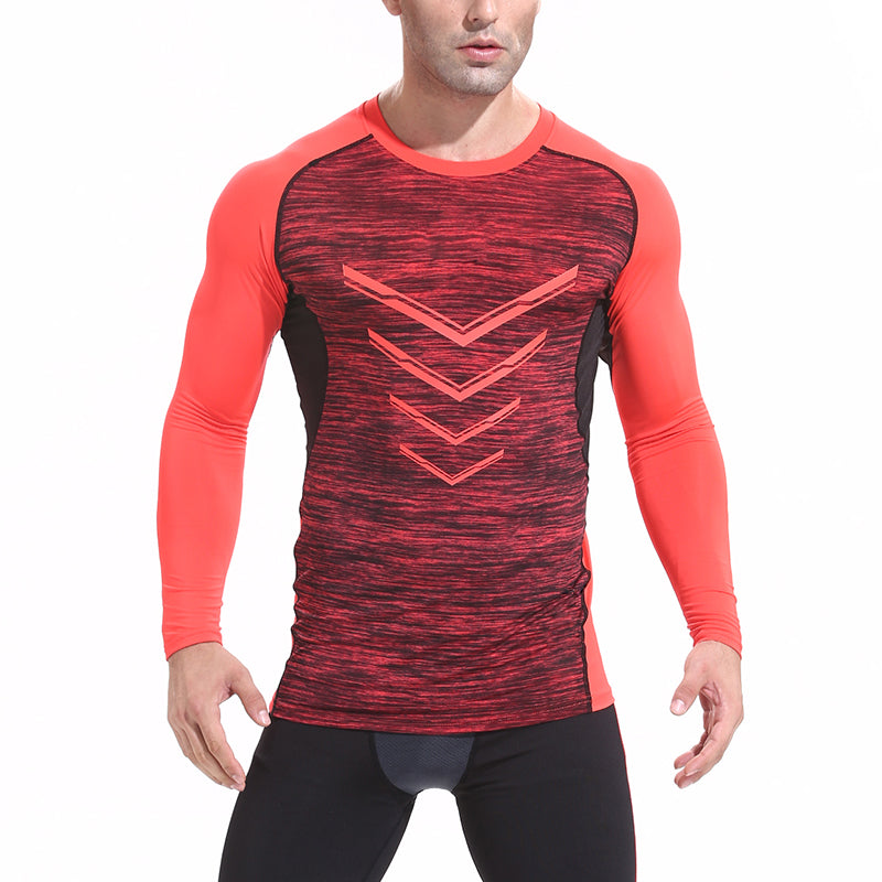 Quick Dry Sport Shirt Men Slim Fit Compression Top Long  Sleeve V-neck Men's Running T-Shirts Gym Training Sportswear New 2019