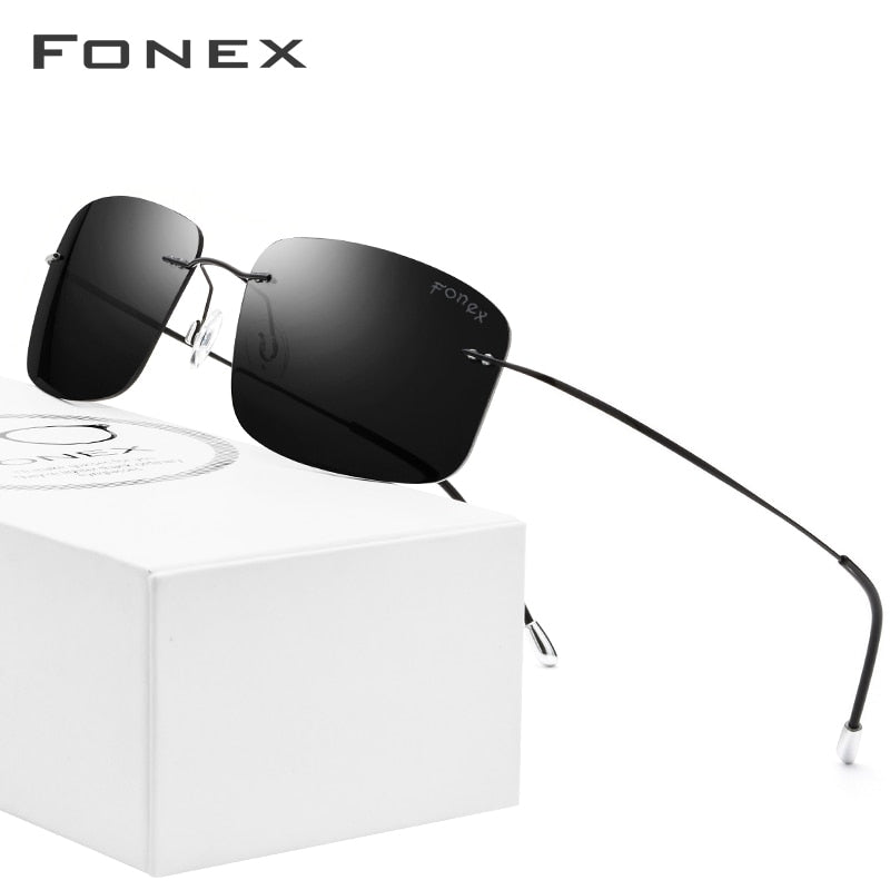 Rimless Polarized Sunglasses Men Ultralight 2018 Hot Ultra Light Screwless Frameless Square Sun Glasses for Women Titanium Alloy