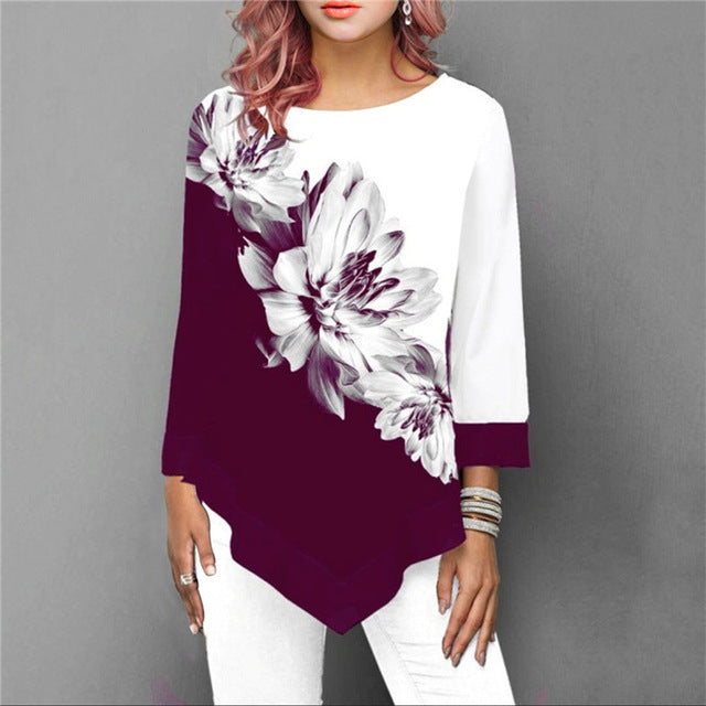 S-5XL T Shirt Women Plus Size Three Quarter Ladies Tee Shirts Floral Print Loose Casual Tops Female Irregular Autumn Clothes