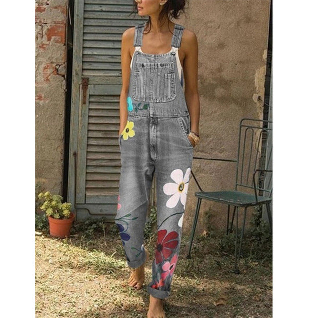SZMALL Newest 2020 Sleeveless Flower Women Jeans Jumpsuit Fashion female Streetwear Playsuit Denim One Piece Rompers Clothes