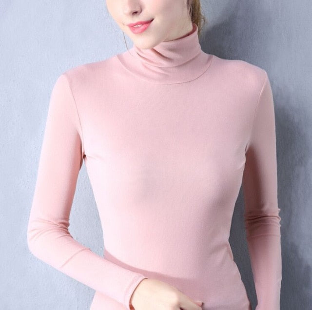 Size S-4XL Women Turtleneck Slim Soft Full Sleeve T Shirts Lady Mesh Elegant Elastic Tops Tees  For Women