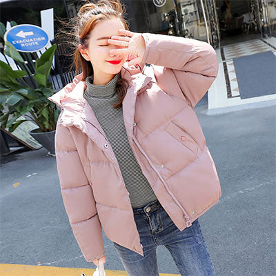 Solid Winter Hooded Parka Coats Women Loose Pockets Plus Size Down Jackets Female Korean Thicken Warm Parkas Wadded Outerwears