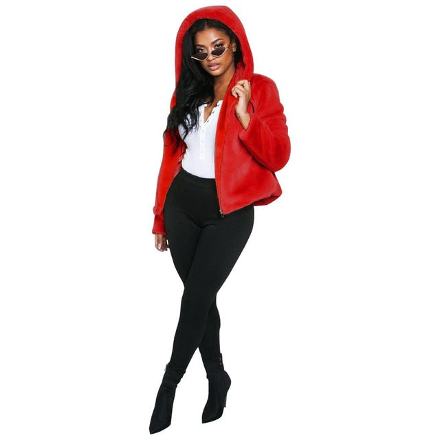 Sweet Style Long Sleeve Leather Fur Coat Women Solid Zipper Hat Ladies Jackets Autumn And Winter Villus Clothing Femme