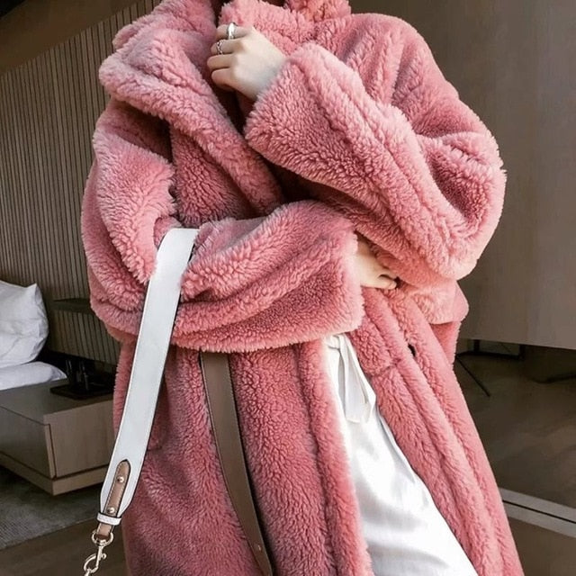 Teddy Lazy Bear Long Coat Women Winter Overcoat Plus Size Fleece Jacket Coat Khaki Streetwear Plush Pink Loose Casual Outerwear