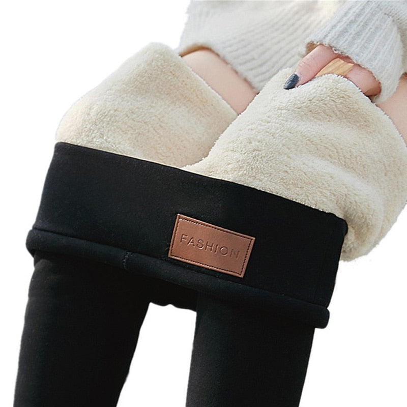 Thick Fleece Leggings Warm Winter Legging For Women Thermal leggins High Waist Thermo Pants Black Plus Size 3XL