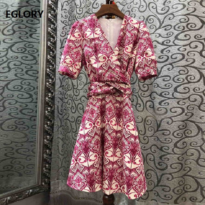 Top Quality Cotton Dress 2019 Summer Party Luxury Women V-Neck Ethnic Print Short Sleeve Slim Fitted A-line Sweet Dress Tunic