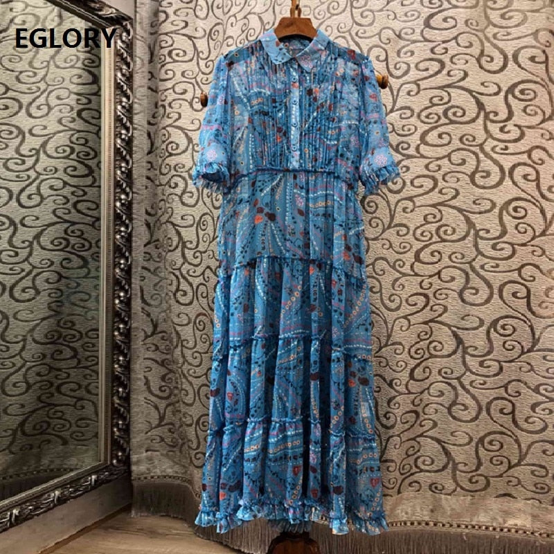 Top Quality New 2019 Summer Fashion Silk Dress Women Turn-down Collar Ethnic Print Half Sleeve Large Swing Party Blue Dress
