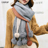 USPOP 2019 New women scarves fashion winter thick long scarf color patchwork pompoms pashmina soft warm thickened winter shawl