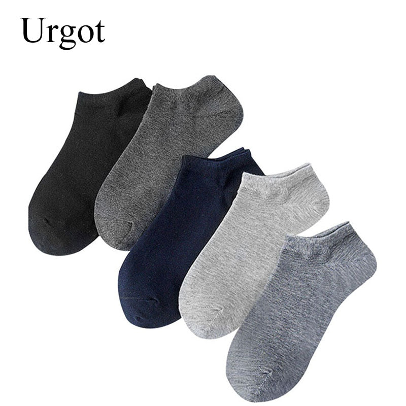 Urgot 10 Pairs Mens Socks Business Casual Cotton Socks Summer Autumn Solid Colors Crew Socks Male Breathable Fashion Socks Meias