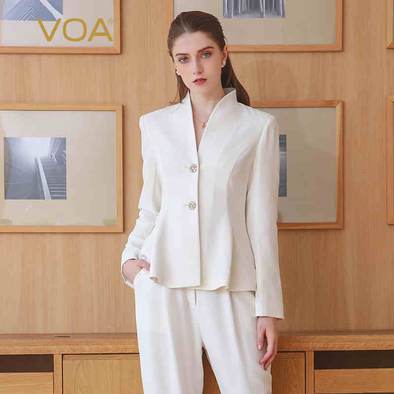 VOA 2018 Spring Plus Size Office Lady Brief Solid White Slim Business Suit Women Basic Tunic Jacket Heavy Silk Short Coat W306