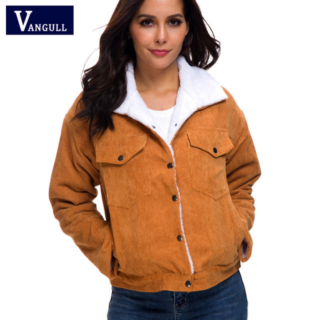 Vangull Autumn Corduroy Jacket Women 2019 New Thick Winter lambswool Jackets Ladies Cute Outerwear Casual Coat Warm Parka Female