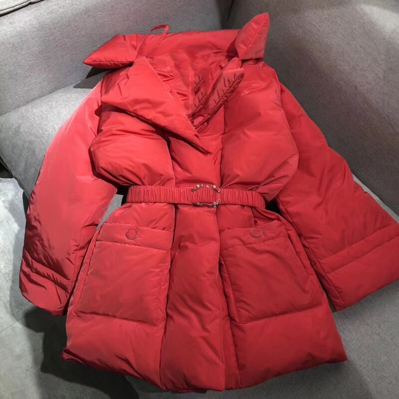 Winter New Down Coat Brand Designer Women Down Jacket Pretty Outerwear Coat With Belt