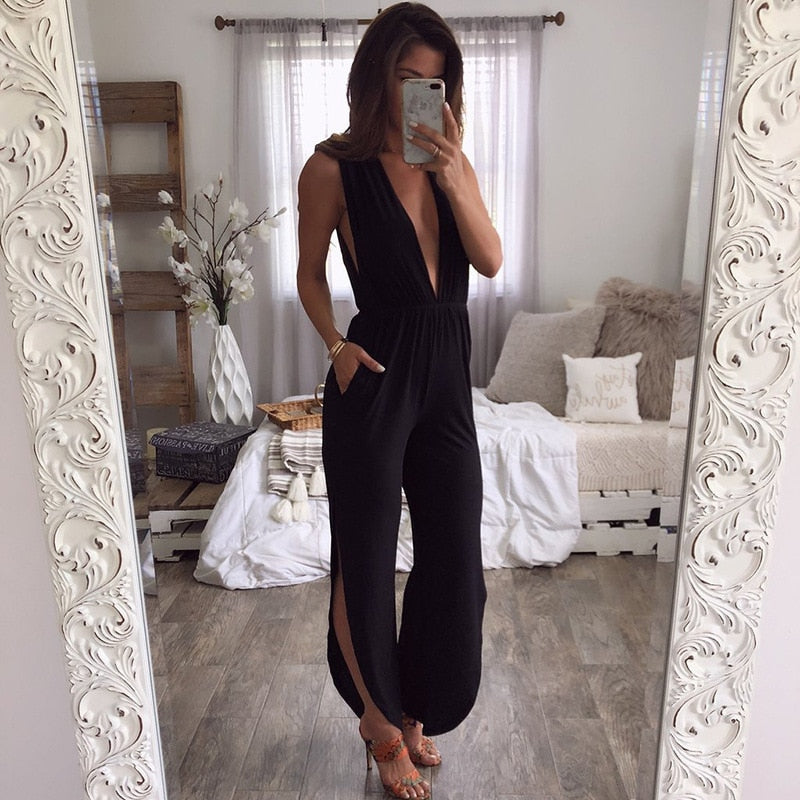 Women Elegant Jumpsuit Sexy Low Cut V Summer Jumpsuit Sleeveless Overalls With Pockets Casual Elastic Waist Playsuit 2019